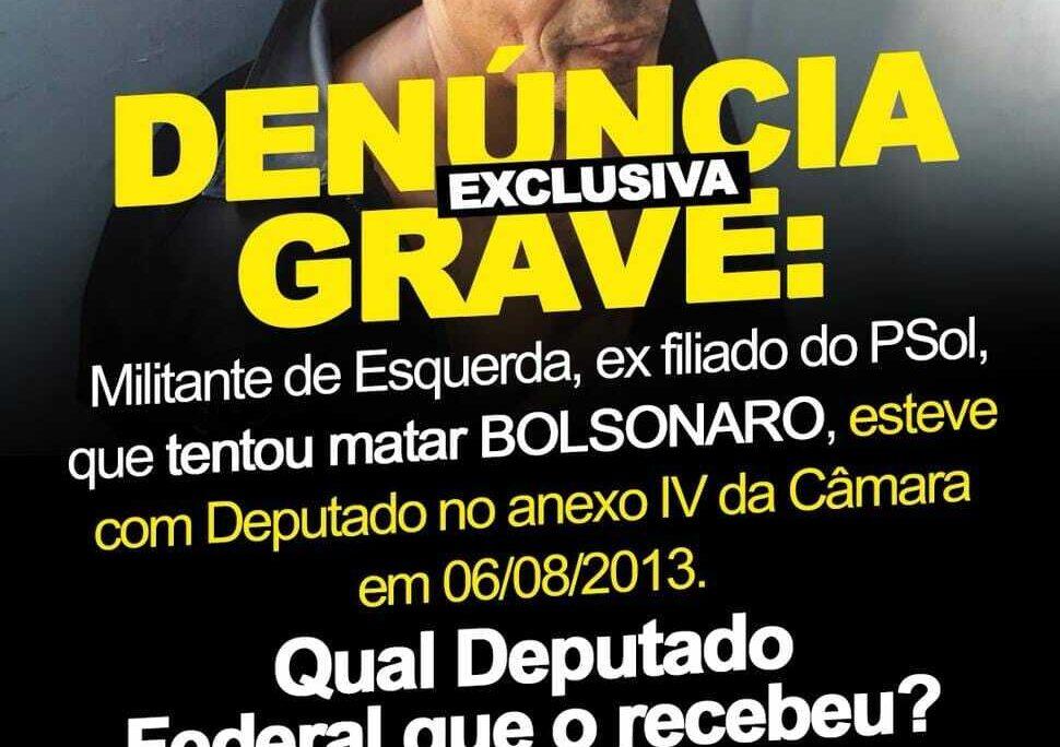 Agressor, militante de esquerda, ex-filiado do Psol, esteve com deputados na Câmara   Por Polibio Braga